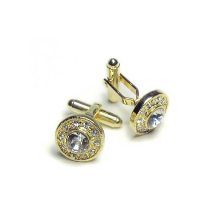 Gold-tone Cuff Links Round w/ Stones Men's - Gold Pave Cufflinks