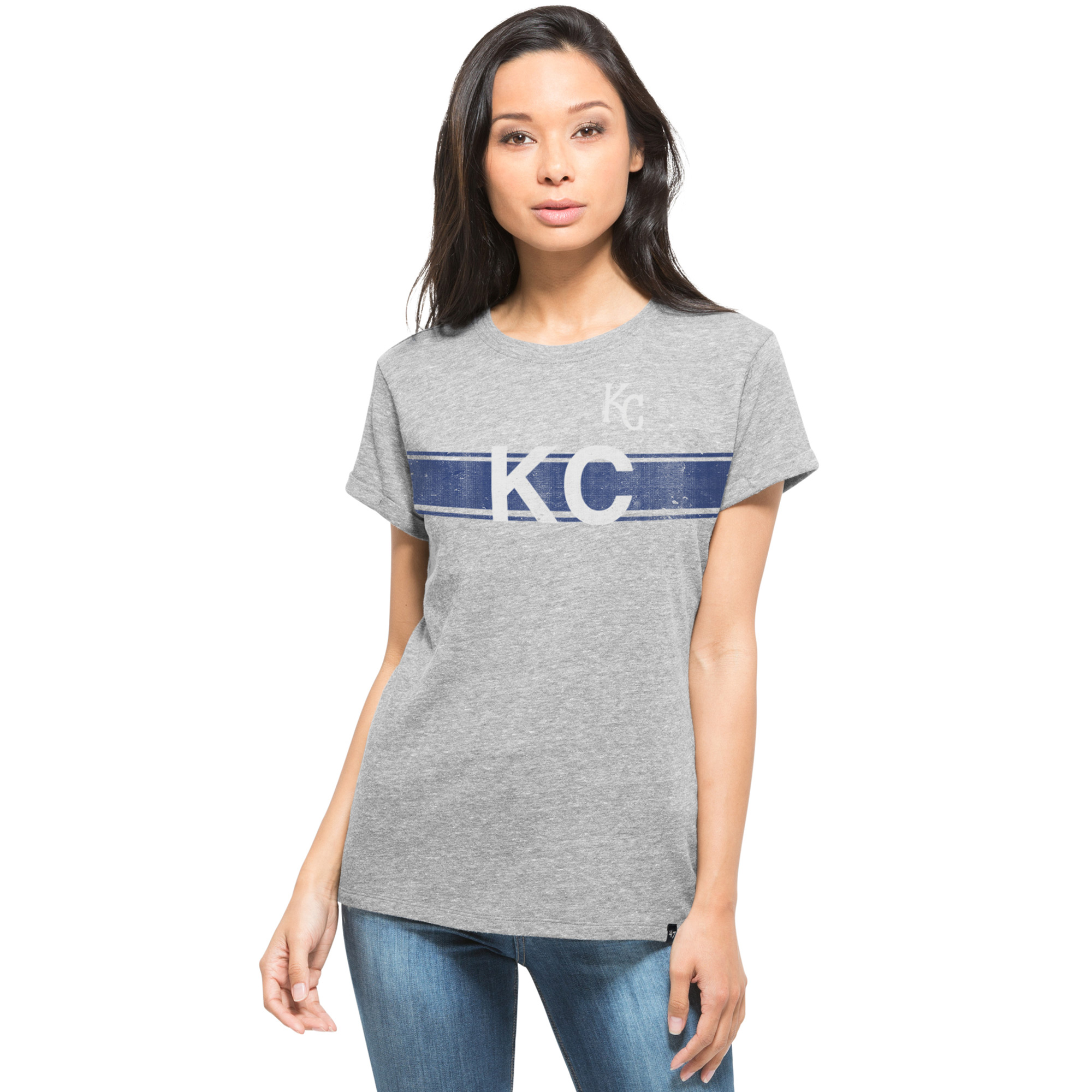 Kansas City Royals '47 Women's Super Hero Boyfriend Fit T-Shirt - Heather Gray