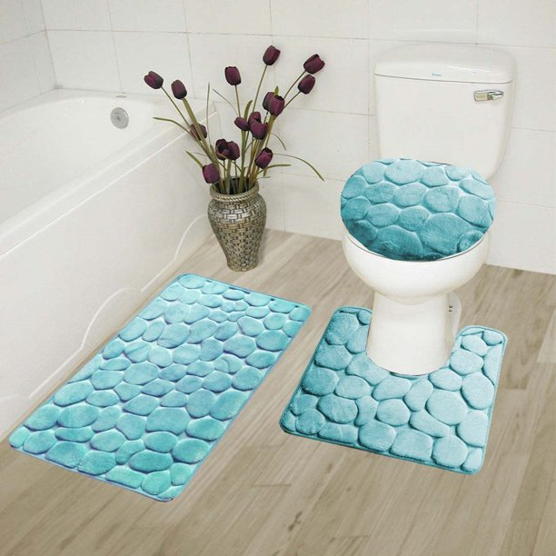 Rock Aqua 3 Piece Embossed Bathroom Rug Set Super Soft Memory Foam Bath Mat Rug 19 X 30 Contour Mat 19 X19 And Toilet Lid Cover 19 X19 With Non Skid Rubber Back Walmart Com Walmart Com