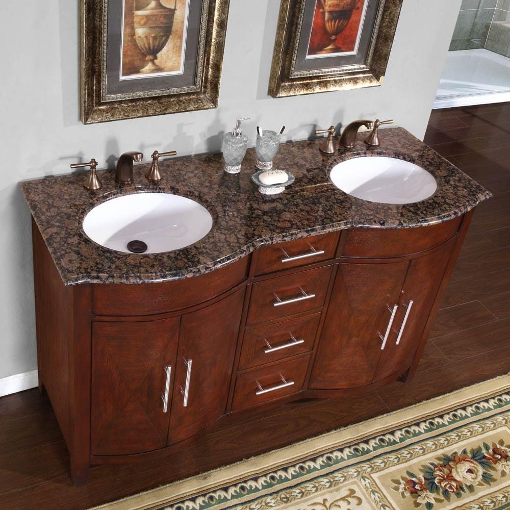 Silkroad Exclusive Cambridge 58u0027u0027 Double Bathroom Vanity Set   Walmart.com