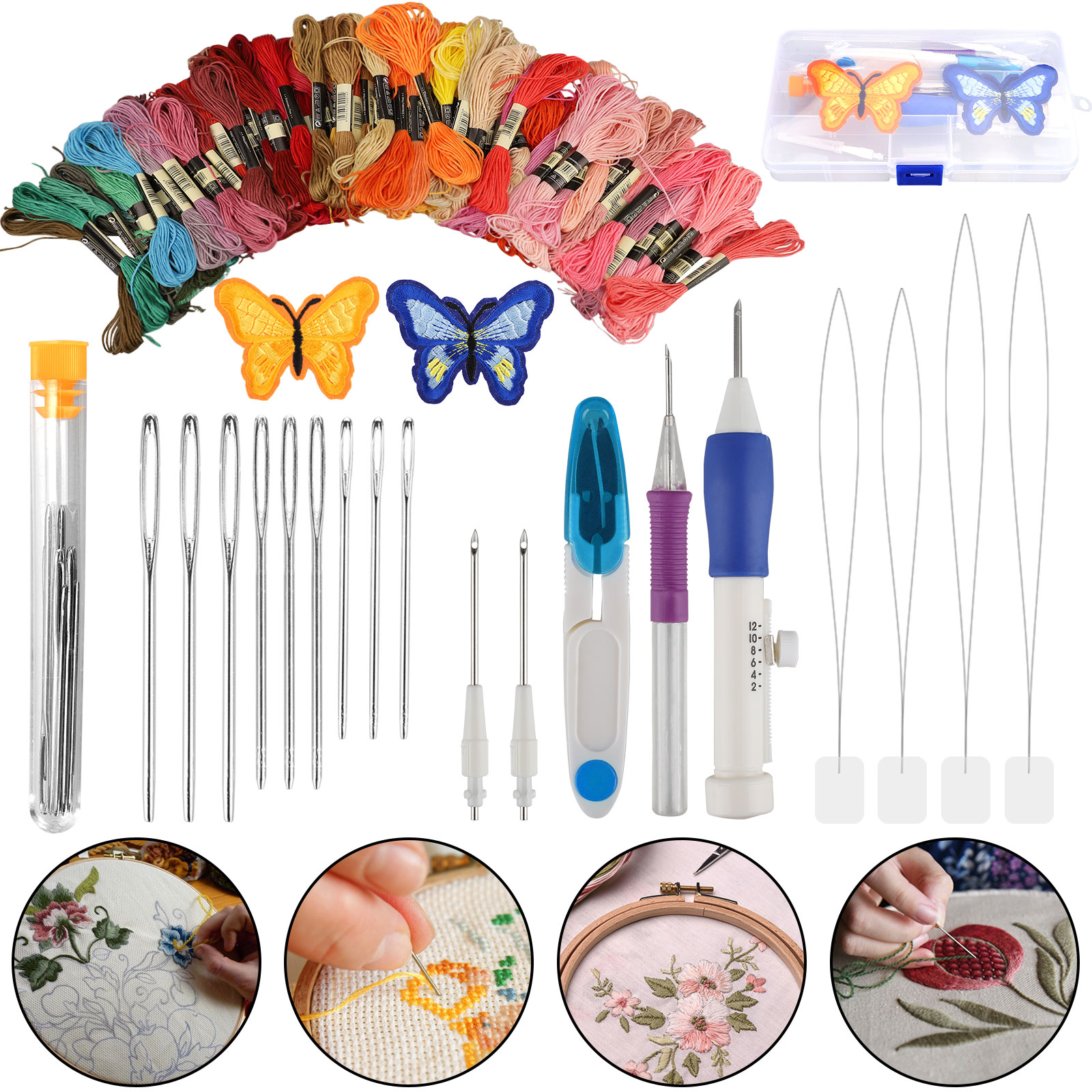 Magic Embroidery Pen Punch Needle Craft Tool Threads Set for DIY Sewing Knitting