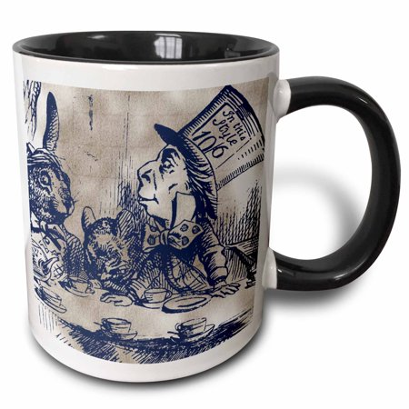 3dRose Mad Hatter Vintage Alice in Wonderland Tea Party - Two Tone Black Mug, 15-ounce (Black And White Mad Hatter)