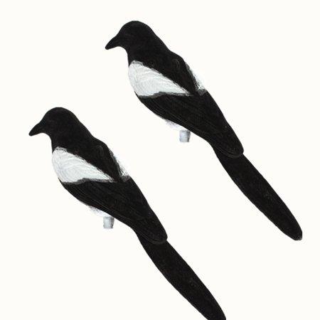 - 2pcs Flocked Decoy Crow Magpie Bird Bait Hunting Trap Shooting Target Hunting Tool Garden Outdoor