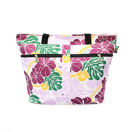 Hawaiian Tote (Hawaiian Print Double Zipper Tote Bag in Hibiscus Floral All Over in)