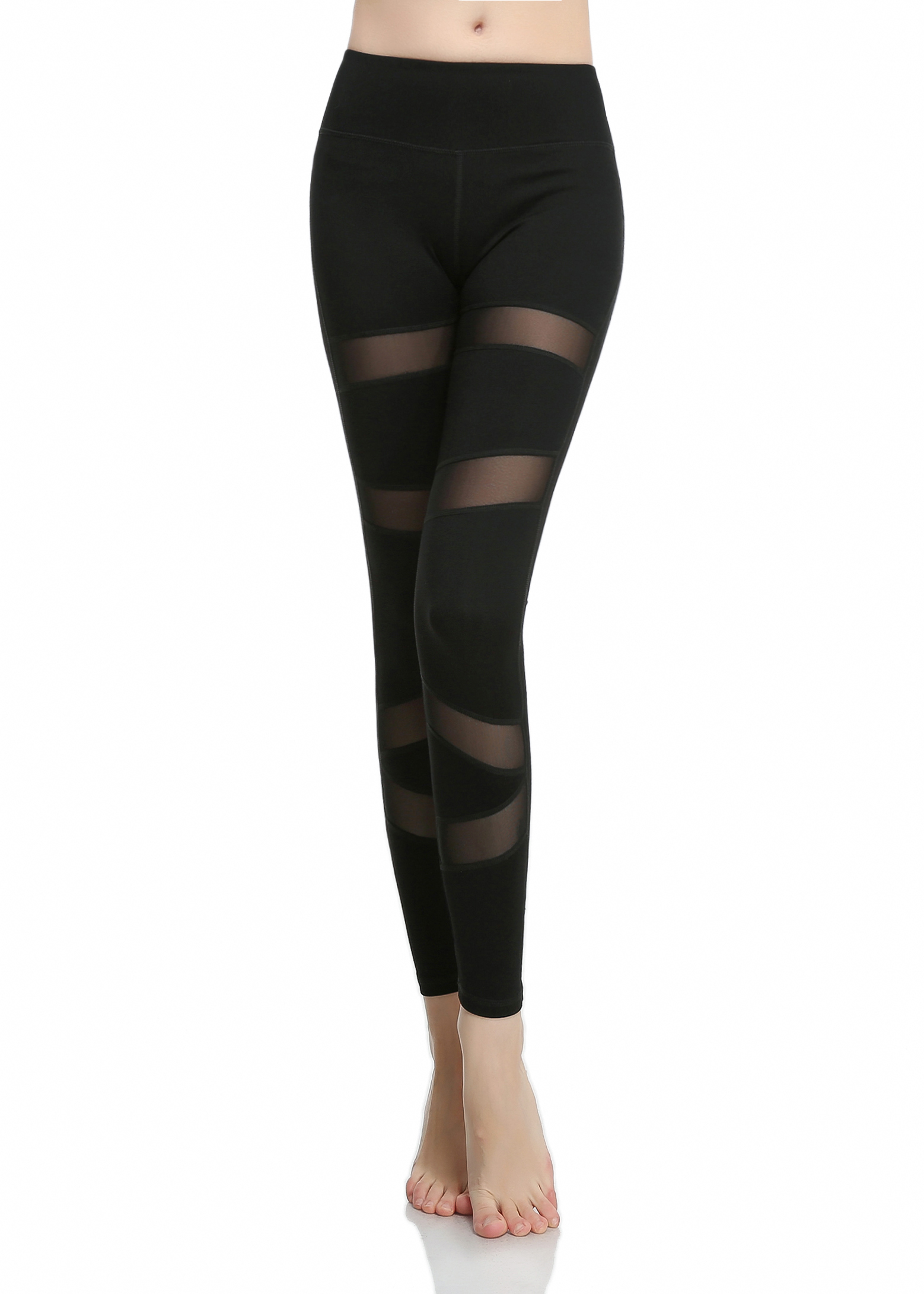 Girls or Junior Women's Black with Spliced mesh inserts Compression Tights Active Stretch Fitness Yoga pants Running and Jogging Leggings