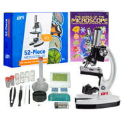 """AmScope 120X-1200X 52-pcs Kids Beginner Microscope Kit with Slides, LED Light, Storage Box and Book """"The World of the Microscope"""""""