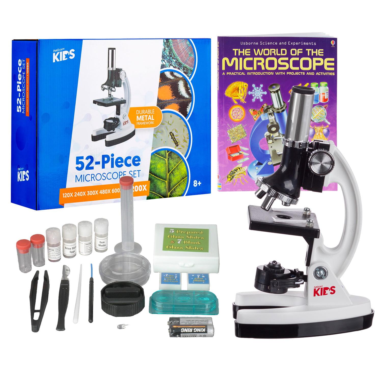 AMSCOPE-KIDS 120X-1200X Starter Kit Metal Arm Children Biological Microscope Kit + Microscope Book New