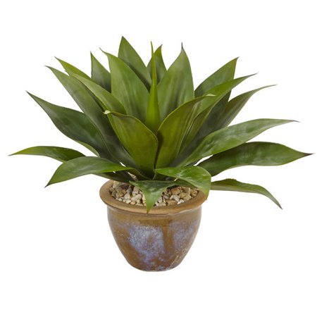 - Agave Artificial Plant in Glazed Clay Pot Green