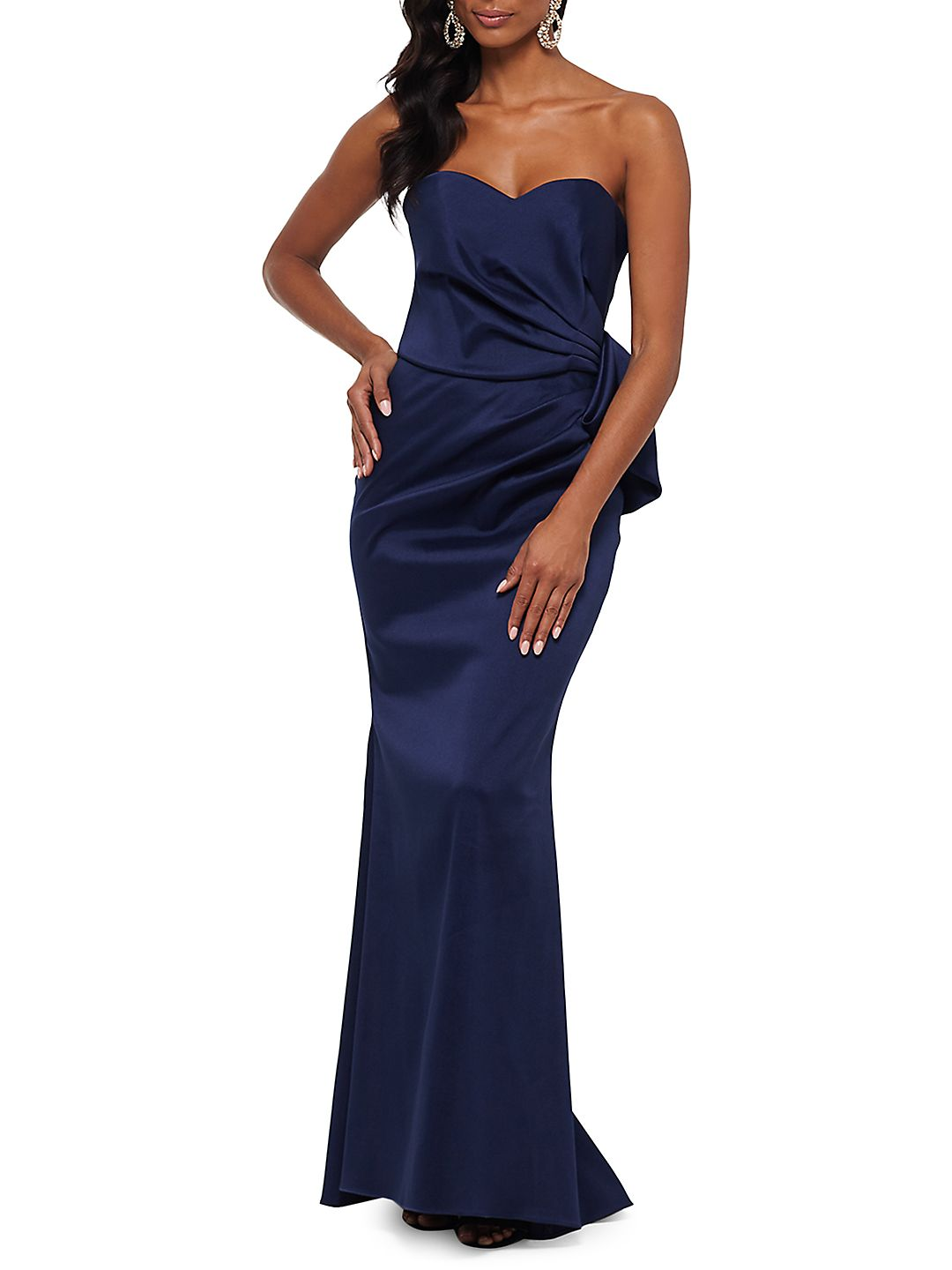 Strapless Gathered Bow Gown