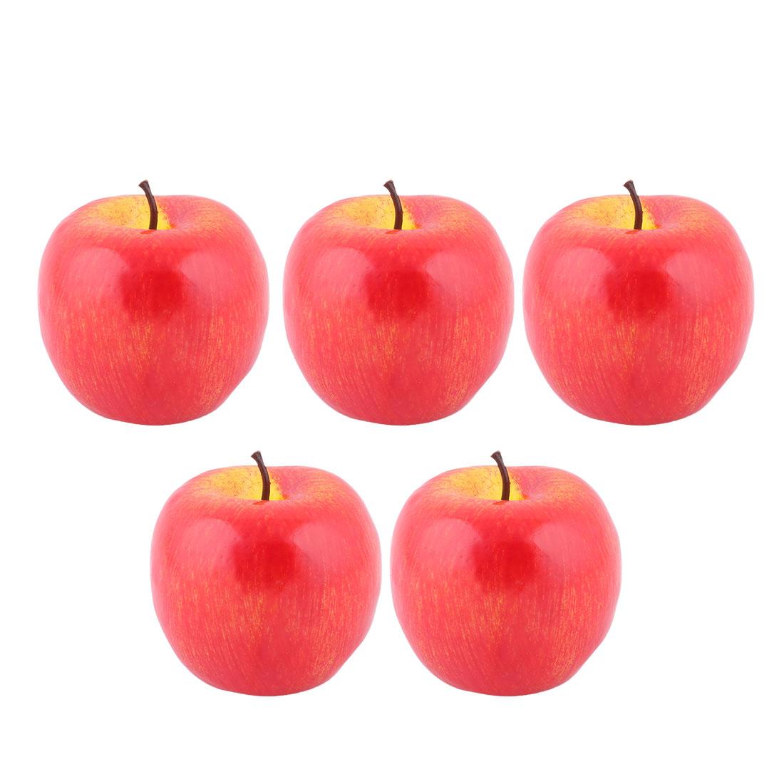 House Table Decor Foam Artificial Apple Designed Emulation Fruit Mold Red 5pcs