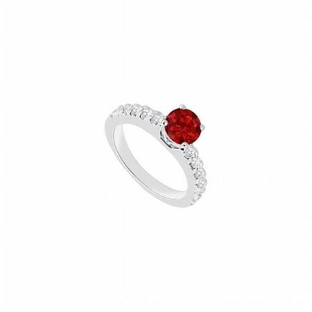 14K White Gold Ruby & Diamond Engagement Ring - 1 CT TGW , 12 Stones