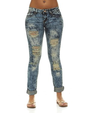 4b173456acdcc Product Image V.I.P.JEANS Ripped Distressed Skinny Mid-Rise Washed Jeans  For Women 5 Bleached Denim Choices