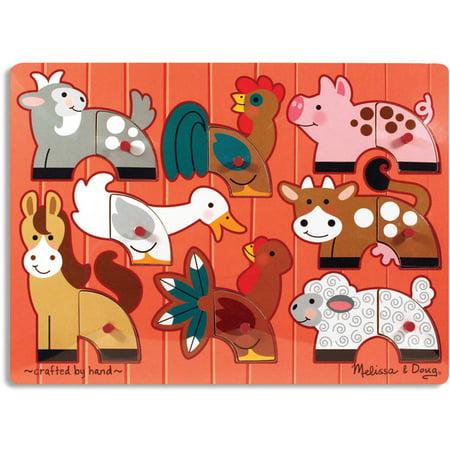 Melissa & Doug Farm Animals Mix 'n Match Wooden Peg Puzzle (8