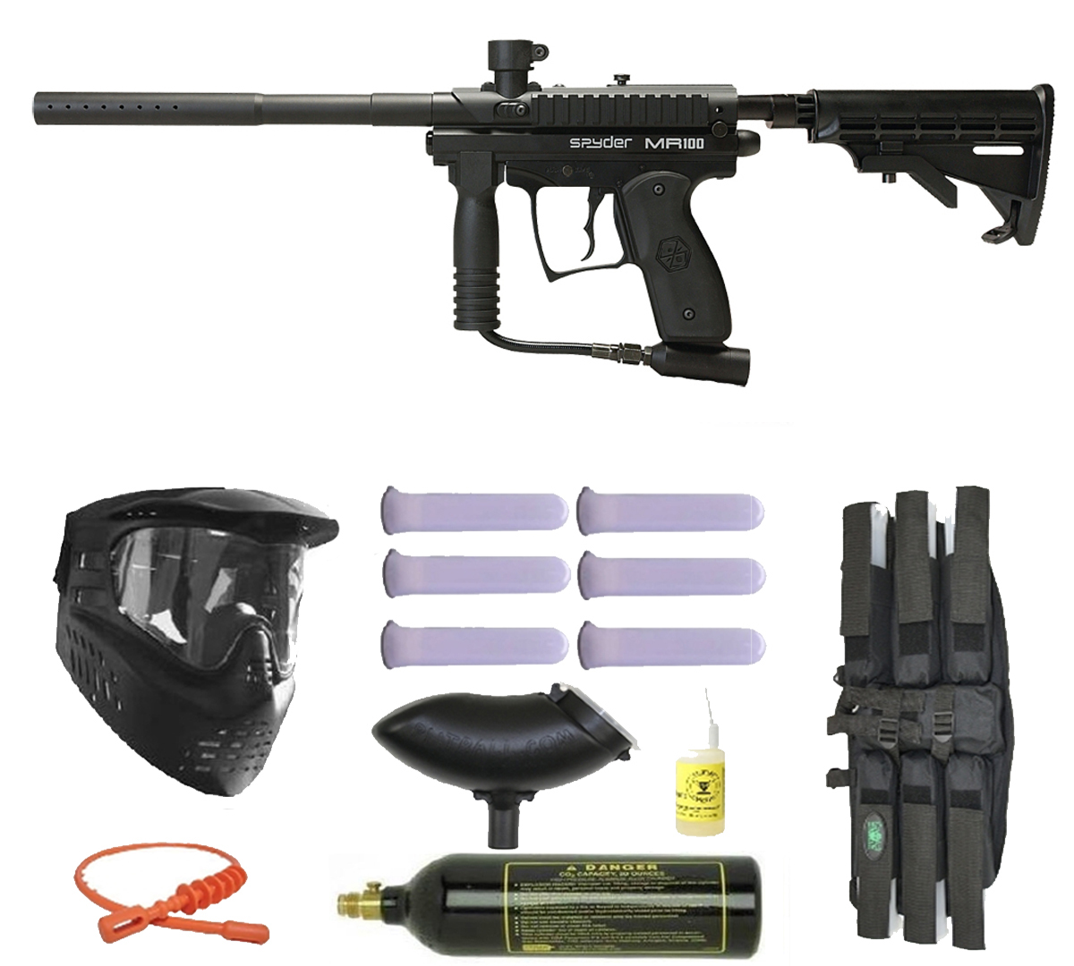 Spyder MR1 Paintball Marker Gun 3Skull Mega Set Black by