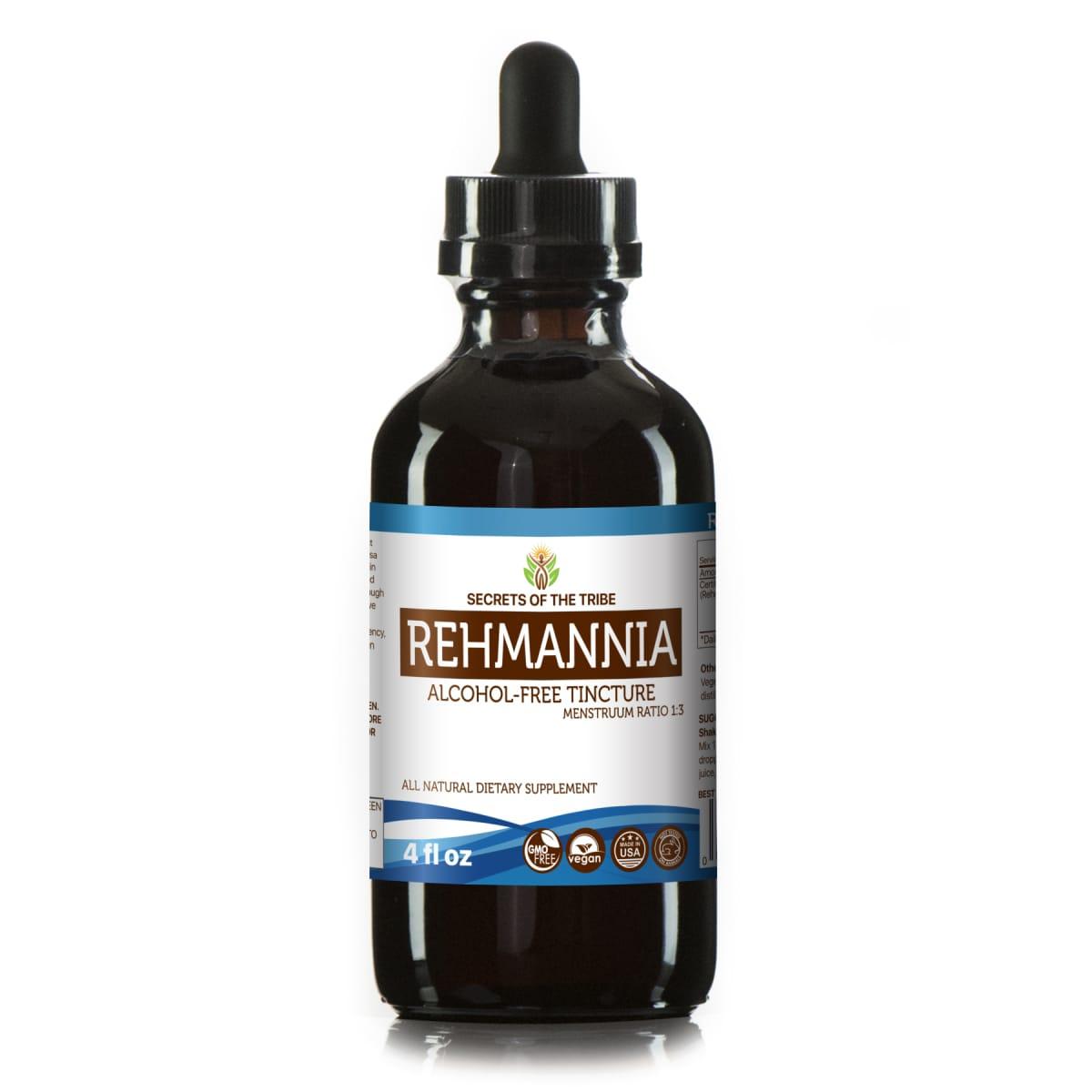 Rehmannia Tincture Alcohol-FREE Extract, Organic Rehmannia (Rehmania Glutinosa) Dried Root 4 oz