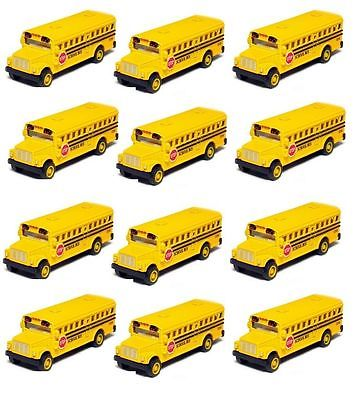 Action Diecast (12 PCS 2.5 Inch Mini Yellow School Bus Diecast Model pull back action KT2523D )