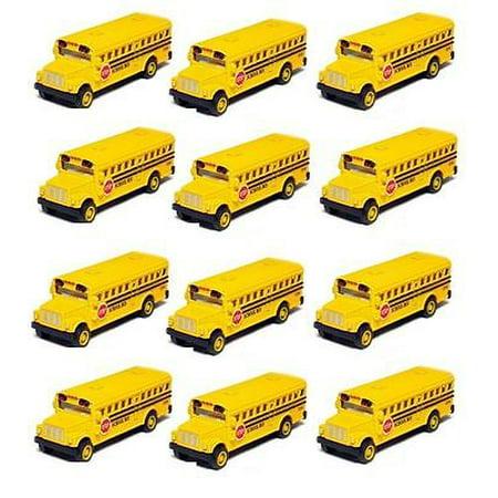 12 PCS 2.5 Inch Mini Yellow School Bus Diecast Model pull back action KT2523D