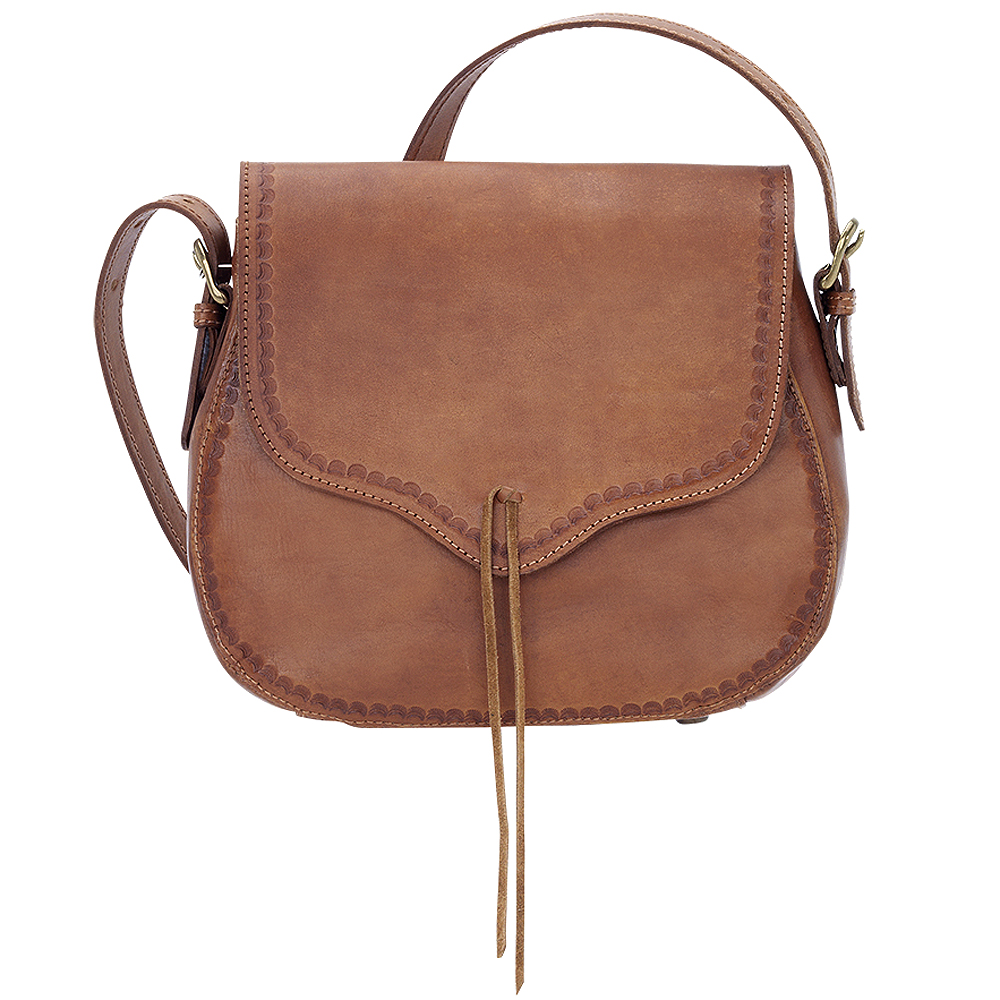 THE MEADOW CROSSBODY LEATHER TOOLED FLAP HANDBAG TAN TRUELU