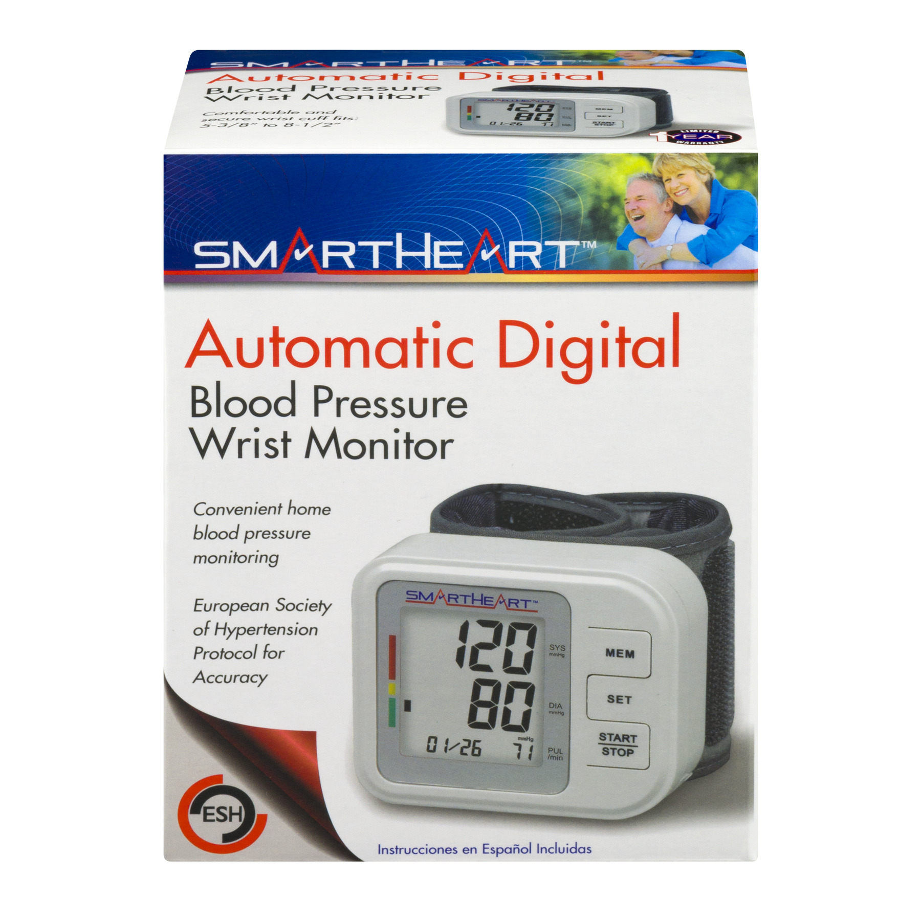 SmartHeart Automatic Digital Blood Pressure Wrist Monitor, 1.0 CT