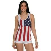 Women's USA American Flag Racerback Tank Top Cotton Vintage Shirt, USA, Size: Large