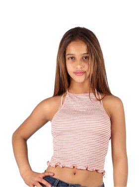 cfb6b31d0b34e4 Product Image Lori   Jane Girls Mauve White Stripe Summer Trendy Cropped Tank  Top