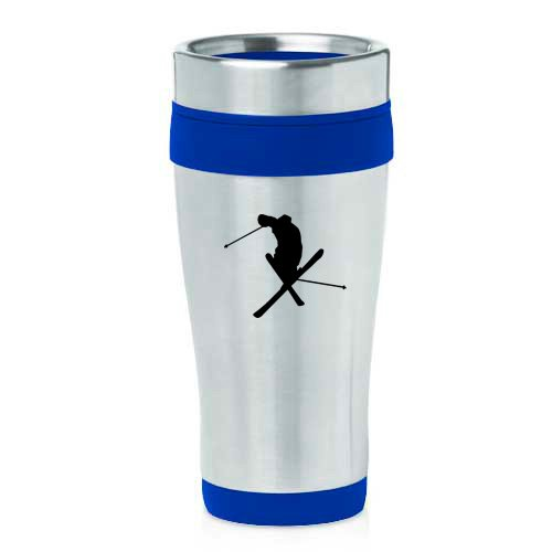 16oz Insulated Stainless Steel Travel Mug Ski Skier Extreme Sports Trick (Blue ) by