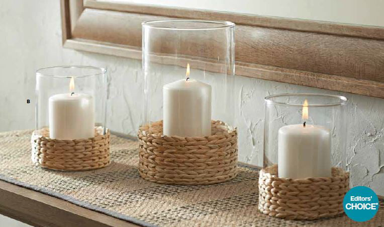 Better Homes and Gardens Water Hyacinth Hurricane Pillar Candle Holder, Large