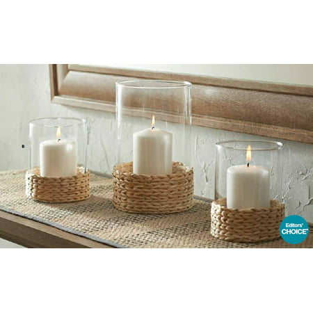 Better Homes and Gardens Water Hyacinth Hurricane Pillar Candle Holder, Large Base Pillar Candle Holder