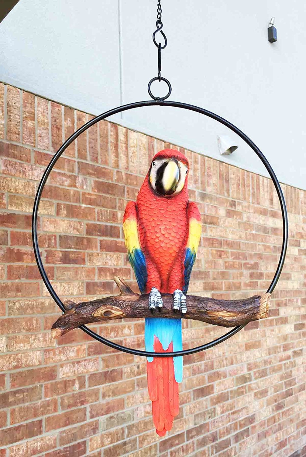 Patio Home Garden Hanging Scarlet Macaw Parrot Perching On Branch In Metal Round Ring Sculpture For Nature Lovers Tropical Bird Collectors By Gifts