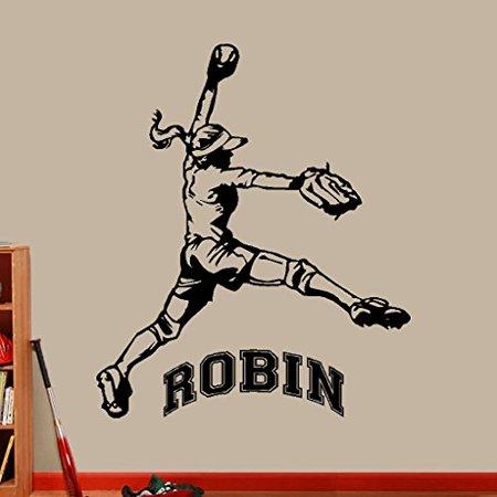 Decal ~ Softball Player,  (CUSTOM NAME) : Wall or Window Decal (Large 20