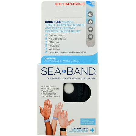 Sea-Band Wristband, Adult, Anti-Nausea Acupressure Motion or Morning Sickness, 2 Count (Pack...
