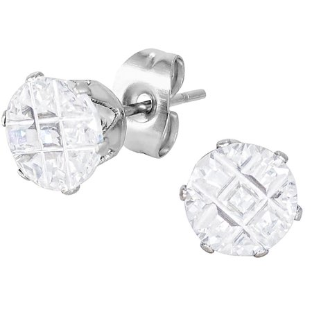 Stainless Steel Cross Cut Crystal Medium Sized Round Stud Earrings for Men
