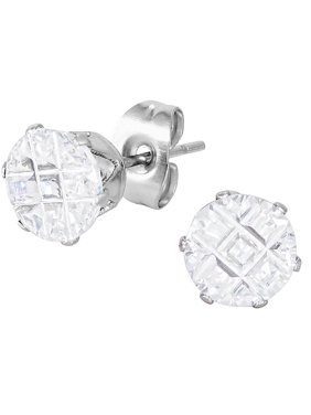 5527e01cc Product Image Stainless Steel Cross Cut Crystal Medium Sized Round Stud  Earrings for Men