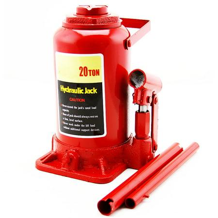 XtremepowerUS 20Ton Portable Hydraulic Bottle Car Jack Lift Farm Equipment Low Profile Automotive Shop, Red