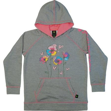 John Deere Little Girls Grey Flower Hoodie Tech Fleece (Size 6X) - LP68973
