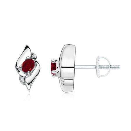 Oval Shell Earrings - Oval Garnet and Diamond Shell Stud Earrings in 14K White Gold (4x3mm Garnet) - SE0121GD-WG-AAA-4x3