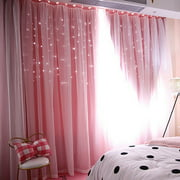 """Hollow-Out Stars Curtain Star Cut Out Blackout Curtains for Bedroom Double Layer Blackout Window Drape for Kids Room Bedroom (1 Panel, 39.37""""*78.74"""")"""