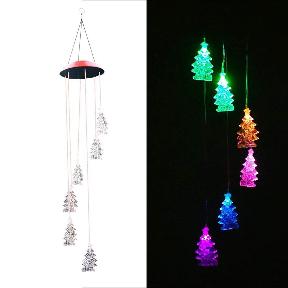 Christmas Tree Solar Aeolian Bells Home Decorations Manual Creative Pendant Garden Decoration Wind Chimes Walmart Com Walmart Com