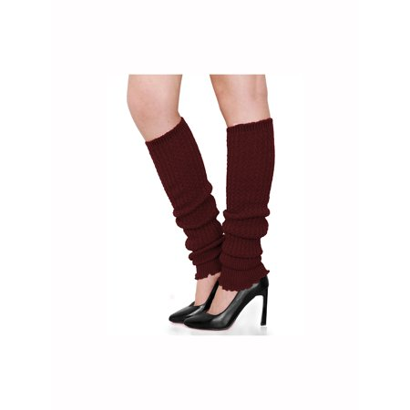 Unique Bargains Women's Over Knee Length Knitted Leg Warmers