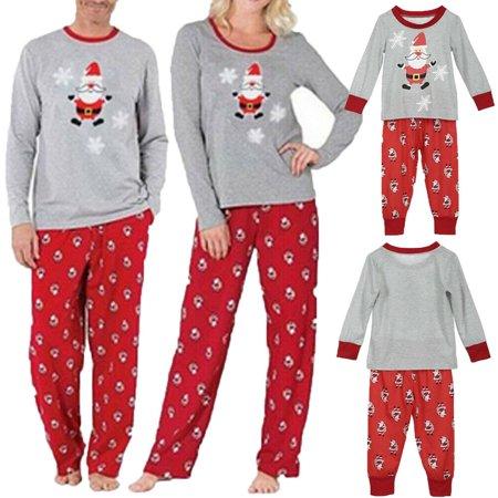 Christmas Family Matching Santa Pajamas Set Women Kid Sleepwear Nightwear ()