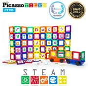 PicassoTiles 136 Piece Deluxe Combo Set Clear 3D Magnet Building Blocks Tiles w/ Clip-In Extension (Including 2 Car Truck Set)