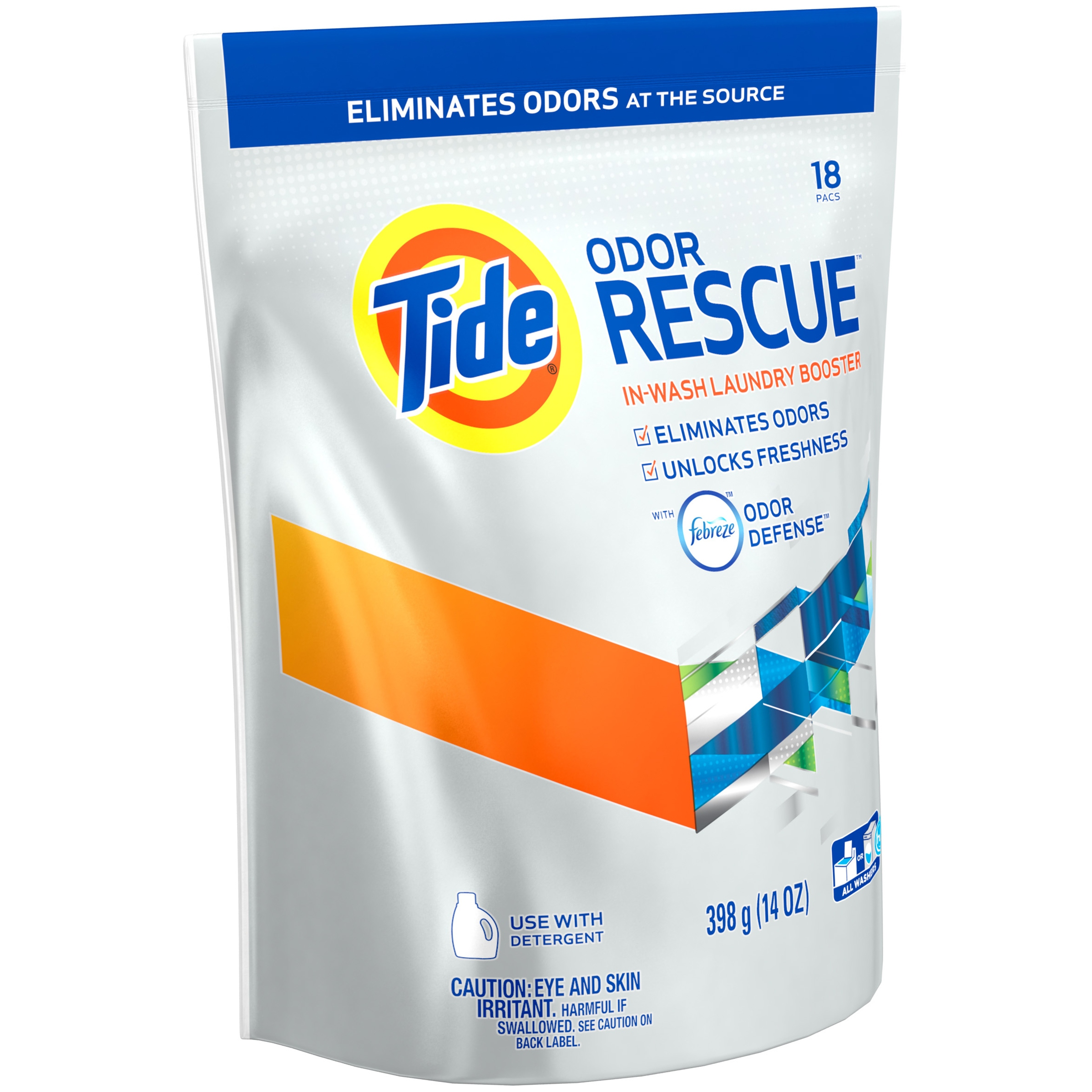 Tide Odor Rescue with Febreze Odor Defense In-Wash Laundry Scent Booster Pacs, 18 loads