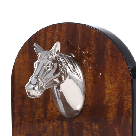 Bookends Decorated with Silvery Horse Head Art Bookend Wooden 1 Pair Study Room Ornament Office Decor - image 5 of 7