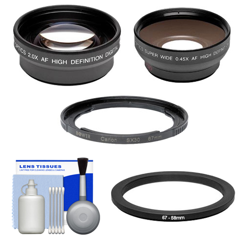 Bower FA-DC67A Adapter Ring for Canon PowerShot SX530, SX540 & SX60 HS Camera (67mm) with .45x Wide Angle & 2x Telephoto Lenses + Cleaning Kit