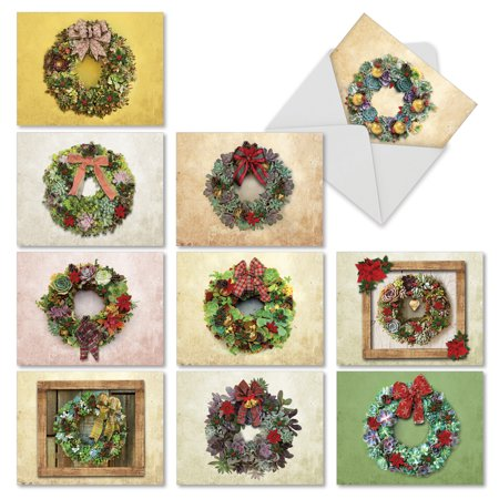 'M2942XTG SUCCULENT WREATHS' 10 Assorted Christmas Thank You Notecards Featuring Holiday Wreaths Made Out of Live Plants, with Envelopes by The Best Card Company (Love Live Halloween Cards)