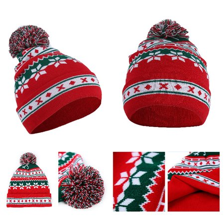 Heepo Winter Men Women Cute Pompom Christmas Snowflake Beanie Hat Knitted Ski Cap