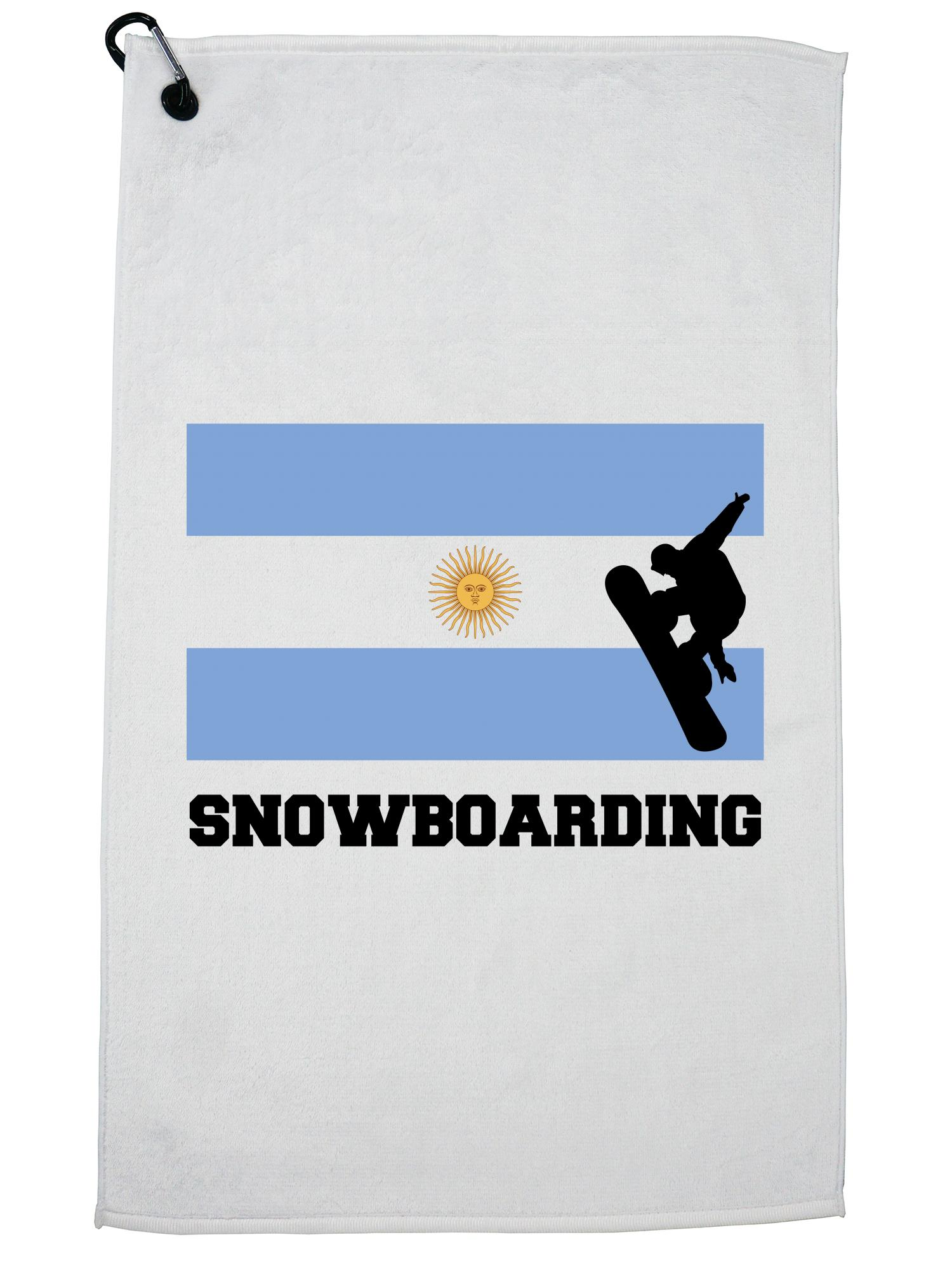 Argentina Olympic Snowboarding Flag Silhouette Golf Towel with Carabiner Clip by Hollywood Thread