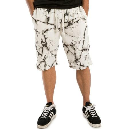 Vibes Men's Fleece Shorts White Marble Print Rib Waistband 13