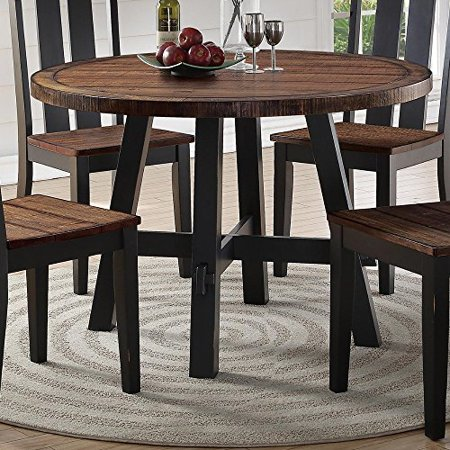 Benzara Cottage Style Round Wooden Dining Table Brown