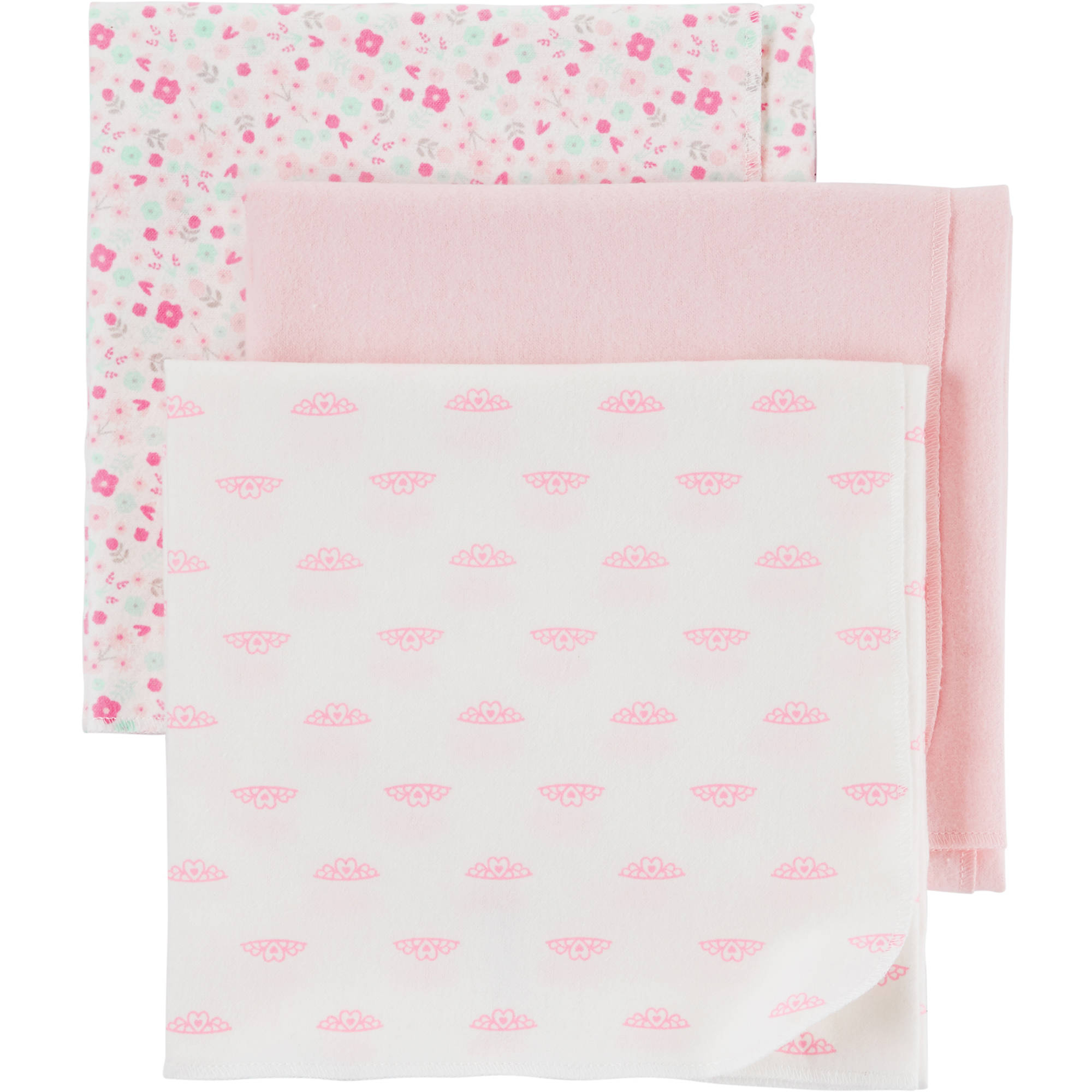 Child of Mine by Carter's Newborn Baby Girl 3 Pack Flannel Blanket